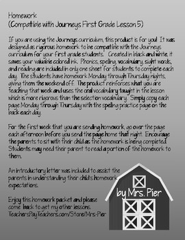 Homework  (Compatible with Journeys First Grade Lesson 5)