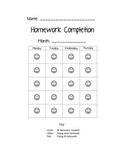 Homework Completion Calendar