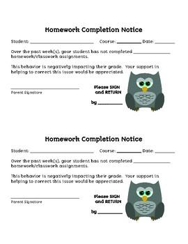 Homework Completion Notice