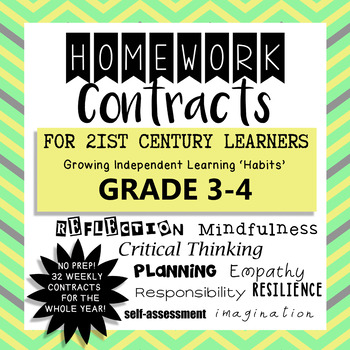 Homework Contracts for 21st Century Learners - Grade 3-4 WHOLE YEAR!