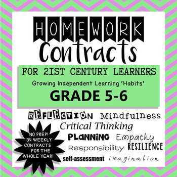Homework Contracts for 21st Century Learners - Grade 5-6 WHOLE YEAR!