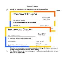 Homework Coupon