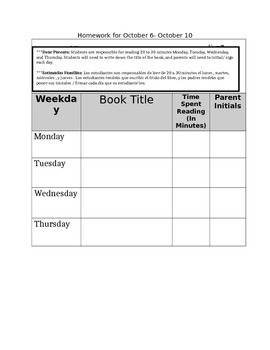 Homework Cover Page Reading Log with Spanish Translation