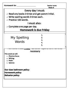 Homework Cover page-Editable