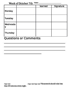Homework Cover page - Editable -