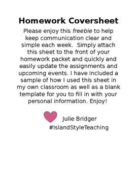 Homework Coversheet