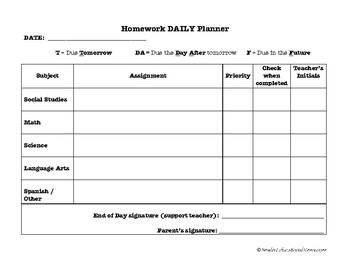 Homework Daily Planning Sheet