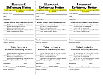 Homework Deficiency Notice