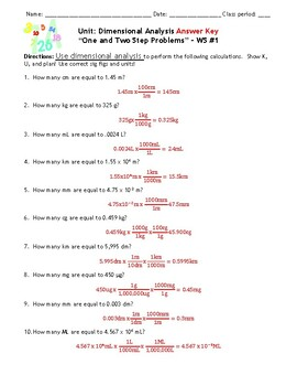 Homework Worksheets: Dimensional Analysis - Set of 3 - With Answers!