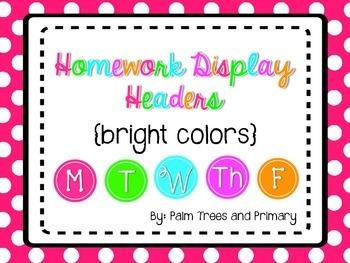Homework Display Headers {Bright Colors}