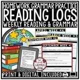 Homework Reading Logs 3rd Grade, 4th Grade- Grammar Practice Activities