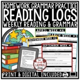 Reading Logs for Homework & Grammar Language Activities 3rd Grade 4th Grade