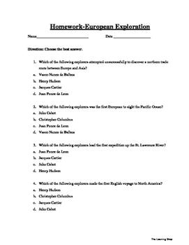 Homework-European Exploration