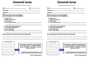 Homework Excuse Note - General
