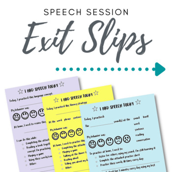 Speech Homework Exit Slips