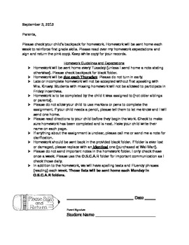 homework letter to parents