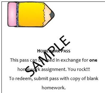 Homework, Extra Credit, Reward, etc. Passes