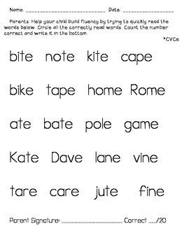 Homework Fluency/Alphabet/CVC/CVCe