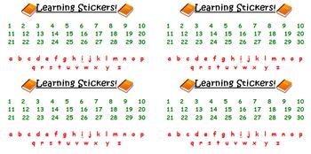 Homework Folder Alpahbet/Number Learning Labels