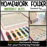 Homework Folder Editable - Butterfly Theme {Butterfly Bliss}