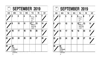 Homework Folder Calendar