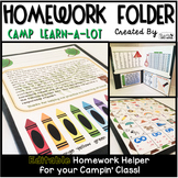 Homework Folder Editable - Camping Theme {Camp Learn a Lot}