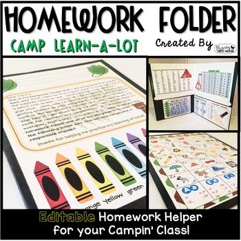 Homework Folder Editable - Camping Theme {Camp Learn a Lot}