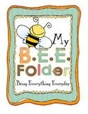 Homework Folder Cover - B.E.E. Folder