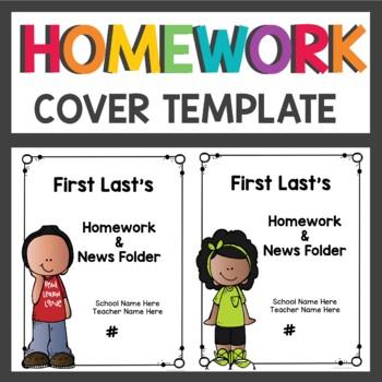 Homework Folder Covers Editable
