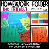 Homework Folder Editable - Ink Friendly