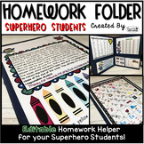 Homework Folder Editable - Superhero Students