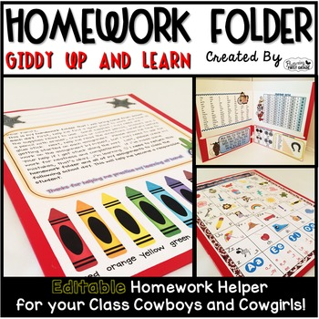 Homework Folder Editable - Western Theme {Giddy Up and Learn}