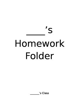 Homework Folder Guidelines