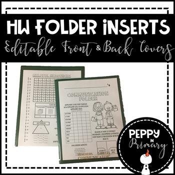 Homework Folder Inserts - Editable Front & Back Covers