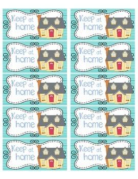 "Homework Folder ""Keep at Home"" & ""Return to School"" Labels"