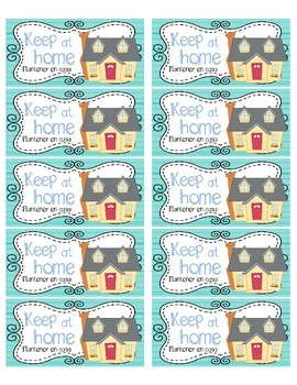 "Homework Folder ""Keep at Home"" & ""Return to School"" Labels w\Spanish translation"