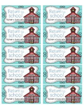 "Homework Folder ""Keep at Home"" & ""Return to School"" Labels w\Spanish translation"