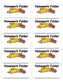 Homework Folder Label for First Grade