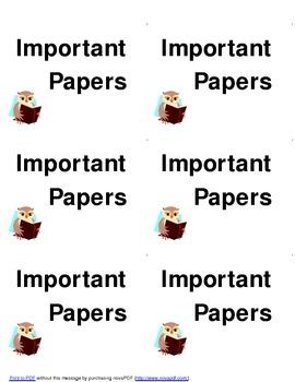 Homework Folder:  Labels