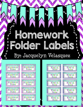Homework Folder Labels Freebie