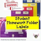 Homework Folder Labels (Great for Remote Learning)