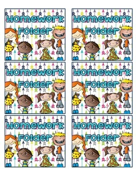 Homework Folder Labels - Kids and Colors