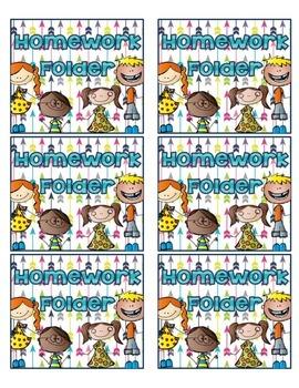 Homework Folder Labels - Kids and Colors