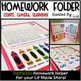 Homework Folder Editable - Movie Theme {Lights, Camera, Learning}