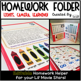 Homework Folder Editable - Movie Theme {Lights, Camera, Learning}