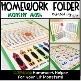 Homework Folder Editable - Monster Theme {Monster Mash}