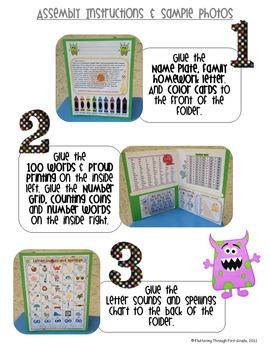 Homework Folder Editable - Monster Theme {Monster Mash}