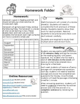 Homework Folder Overview Sheet {Editable}
