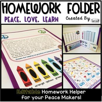 Homework Folder Editable - Peace Theme {Peace, Love, Learn}