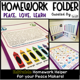 Homework Folder Editable - Peace Theme {Peace, Love, Learn}